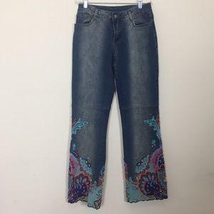 Denim - Embellished Hem Leg Jeans Size 4